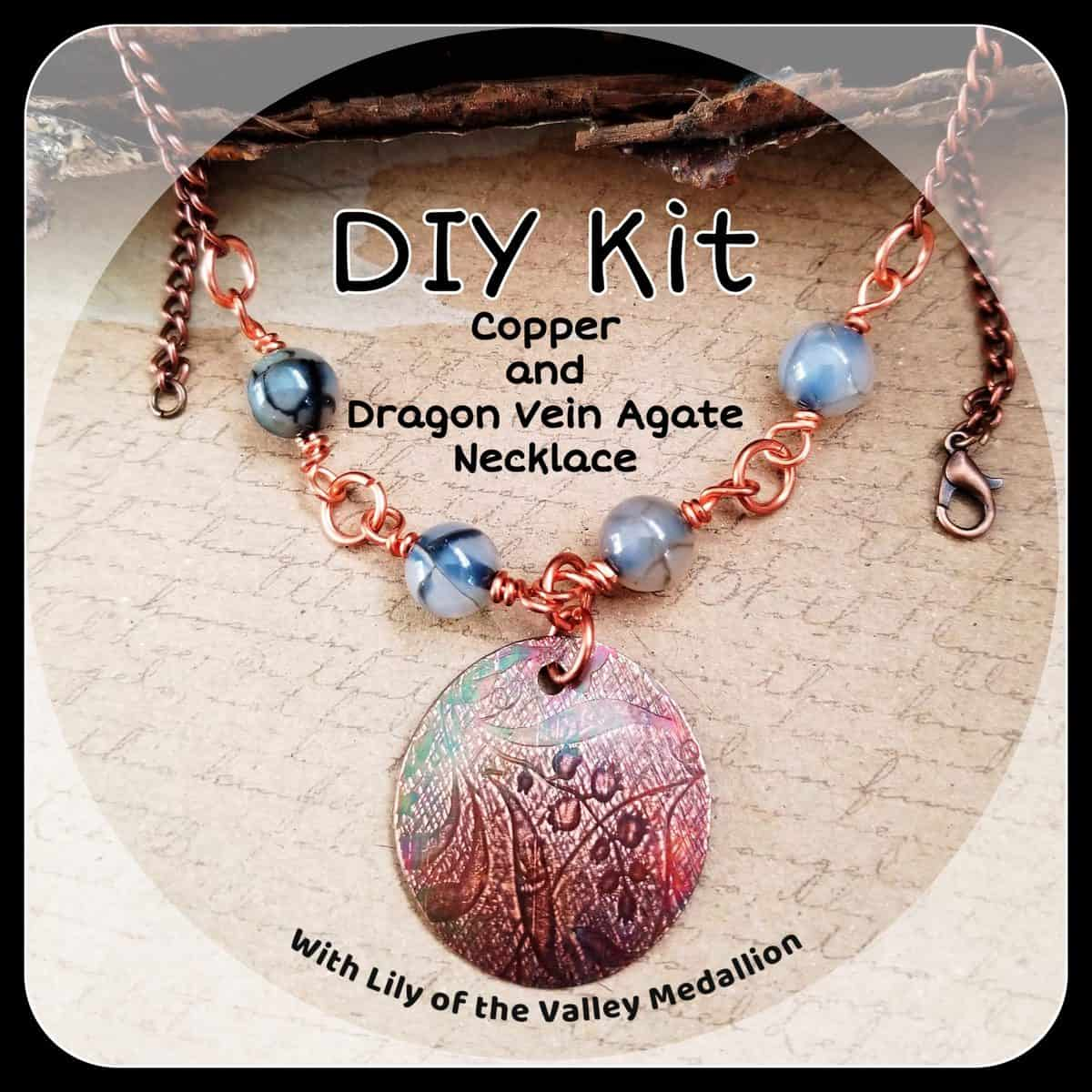 DIY Copper and Dragon Vein Agate Necklace Kit with Optional Pendants Charms